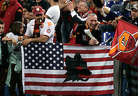 Calcio, Serie A: Roma-Juventus. Roma, stadio Olimpico, 3 aprile 2011..Football, Italian serie A: AS Roma vs Juventus. Rome, Olympic stadium, 3 april 2011..A wolf, AS Roma's emblem, is seen on an U.S. flag..UPDATE IMAGES PRESS/Riccardo De Luca
