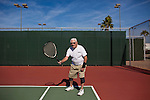 Bill Davis, 93, plays tennis at the Bell Recreation Center December 10, 2010. The tennis team has three active members in their 90s. Davis has been playing tennis for 88 years and still plays 12 games a day three days a week, he said. His doctor told him at a recent appointment to keep doing whatever he was doing because he is healthy. ..2010 marks the 50th anniversary of Sun City, America's first retirement city that remains the largest today with more than 40,000 residents 55 and older.