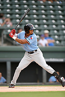 Center fielder Bubba Thompson (25) of the Hickory Crawdads at bat during a game against the Greenville Drive on Monday, July 23, 2018, at Fluor Field at the West End in Greenville, South Carolina. Hickory won, 6-1. (Tom Priddy/Four Seam Images)
