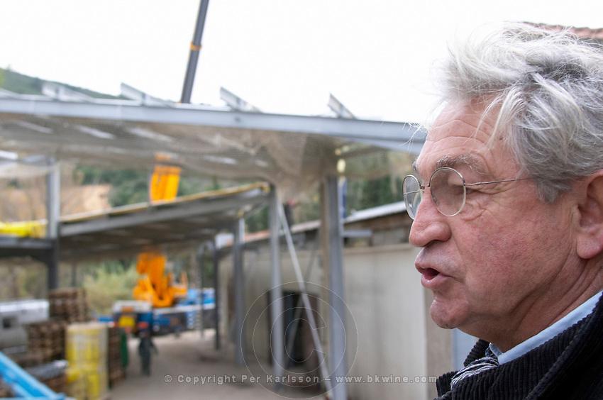 Patrick de Marien, president Embres et Castelmaure Cave Cooperative co-operative. Les Corbieres. Languedoc. The winery building. France. Europe.