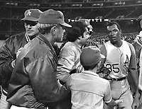Vida Blue is mobbed after pitching a no-hittler against the Minnesota Twins, Sept 21,1970. (photo/Ron Riesterer)