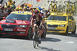 "Geraint Thomas (WAL) Team Ineos loses 30"" to the race leader as he climbs to the finish line in 8th place atop the Col du Tourmalet near the end of Stage 14 of the 2019 Tour de France running 117.5km from Tarbes to Tourmalet Bareges, France. 20th July 2019.<br /> Picture: Colin Flockton 