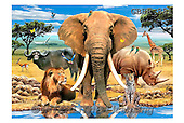 Howard, REALISTIC ANIMALS, REALISTISCHE TIERE, ANIMALES REALISTICOS, paintings,+elephant,big five,lepard++++,GBHR881,#A# ,puzzles