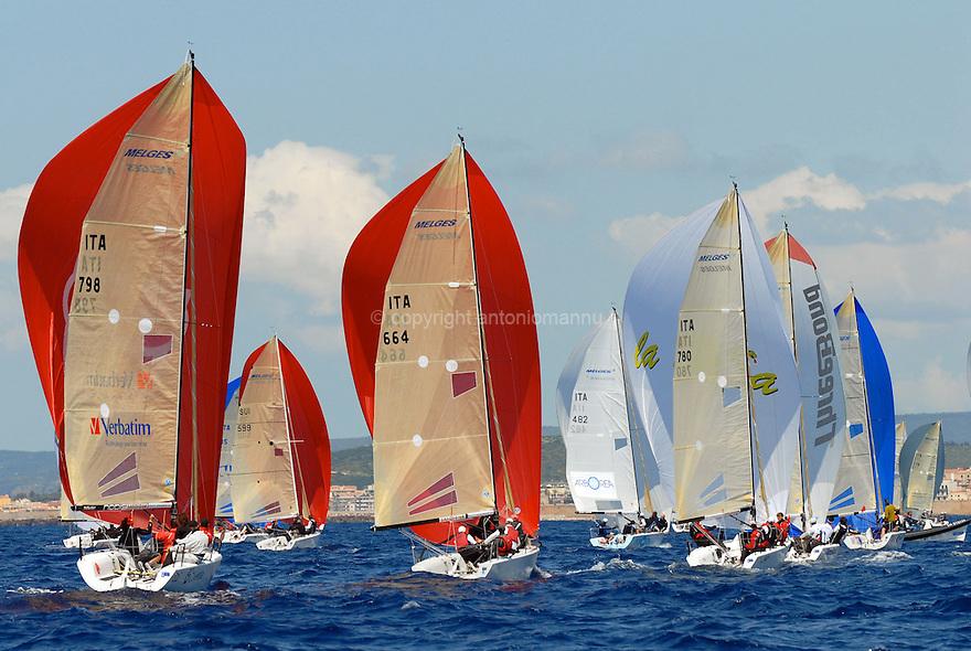 Nazionale Melges 24 Alghero 2010. Ita 798 Little Wing naviga sotto spi insieme ad altri concorrenti. Sullo sfondo la città di Alghero.