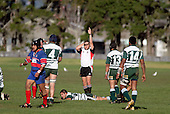 Referee Nigel Bradley awards a try for Ardmore Marist as R. Koroi is left lying on the ground contemplating what could of been.  Counties Manukau Premier Club Rugby, Ardmore Marist vs Manurewa played at Bruce Pulman Park, Papakura on the 10th of June 2006. Ardmore Maris won 18 - 11.
