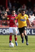 Chike Kandi of Dagenham and Redbridge and Corey Whitely of Ebbsfleet during Ebbsfleet United vs Dagenham & Redbridge, Vanarama National League Football at The Kuflink Stadium on 13th April 2019