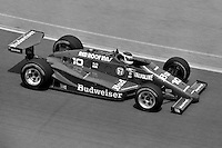 "INDIANAPOLIS, IN - MAY 26: Bobby Rahal drives the #10 Budweiser March 85C 11/Cosworth during ""Carburetion Day"" before the Indianapolis 500 at the Indianapolis Motor Speedway in Indianapolis, Indiana, on May 26, 1985."