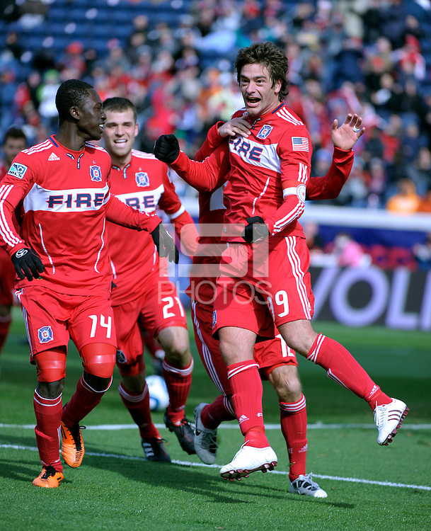 Chicago Fire forward Diego Chaves (99) celebrates his penalty kick goal.  The Chicago Fire defeated Sporting KC 3-2 at Toyota Park in Bridgeview, IL on March 27, 2011.