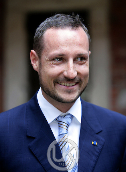 Crown Prince Haakon & Crown Princess Mette-Marit of Norway's three-day visit to Poland..Meeting with the press at Krakow University..