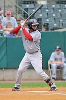 Deven Marrero (18) of the Portland Sea Dogs bats during a game against the New Britain Rock Cats at New Britain Stadium on May 15, 2014 in New Britain, Connecticut.  Portland defeated New Britain 13-5.  (Gregory Vasil/Four Seam Images)