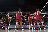 STANFORD, CA - March 3, 2018: Kyler Presho, JP Reilly, Mason Tufuga, Evan Enriques at Maples Pavilion. The Stanford Cardinal lost to Pepperdine, 3-0.