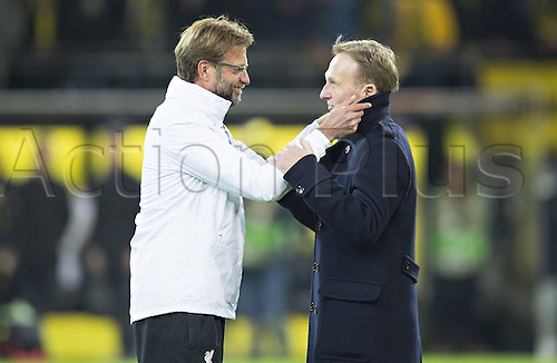 07.04.2016. Dortmund, Germany. Europa League quarterfinal. Borussia Dortmund versus Liverpool FC at the Signal Iduna Park Dortmund greets Jurgen Klopp