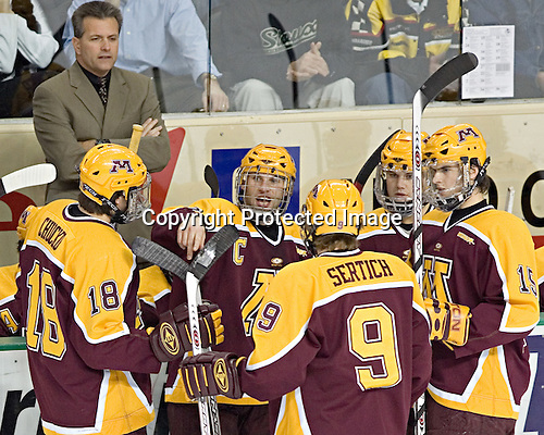 Don Lucia, Kris Chucko, Gino Guyer, Andy Sertich, Derek Peltier, Mike Vannelli - The University of Minnesota Golden Gophers defeated the University of North Dakota Fighting Sioux 4-3 on Friday, December 9, 2005, at Ralph Engelstad Arena in Grand Forks, North Dakota.