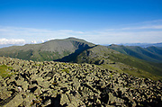 Mount Washington from the summit of Mount Jefferson in the White Mountains of New Hampshire during the summer months. The Great Gulf Headwall is below Mount Washington.