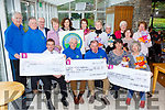 Kerry Hospice was presented with a cheque of €1500 by the Muckruss Garden Restaurant and a cheque of €3441 from Killarney Crafty Ladies and the Killlarney Branch of KHF  presented a cheque of €82,362 to the Kerry Hospice foundation in Muckross House on Friday