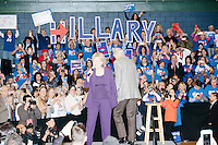 "Campaign volunteers hold up large letters spelling ""Hillary"" as former president Bill Clinton leaves the stage as former Secretary of State and Democratic presidential candidate Hillary Rodham Clinton speaks at a rally at Nashua Community College in Nashua, New Hampshire, on Tues. Feb. 2, 2016. Former president Bill Clinton also spoke at the event. The day before, Hillary Clinton won the Iowa caucus by a small margin over Bernie Sanders."
