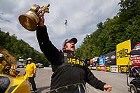 Jun 18, 2017; Bristol, TN, USA; NHRA pro mod driver Troy Coughlin Sr celebrates after winning the Thunder Valley Nationals at Bristol Dragway. Mandatory Credit: Mark J. Rebilas-USA TODAY Sports