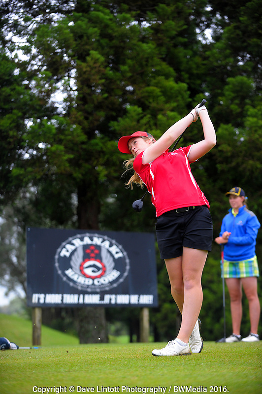 Amelia Garvey (Canterbury) v Alannah Campbell (BoP) at the 8th tee. 2016 Toro Women's Interprovincial Golf Championship at Westown Golf Club in New Plymouth, New Zealand on Saturday, 10 December 2016. Photo: Dave Lintott / lintottphoto.co.nz