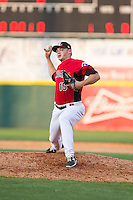 Hickory Crawdads relief pitcher Chris Dula (15) in action against the Greensboro Grasshoppers at L.P. Frans Stadium on May 6, 2015 in Hickory, North Carolina.  The Crawdads defeated the Grasshoppers 1-0.  (Brian Westerholt/Four Seam Images)
