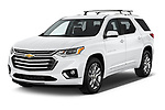 2018 Chevrolet Traverse High Country 5 Door SUV angular front stock photos of front three quarter view