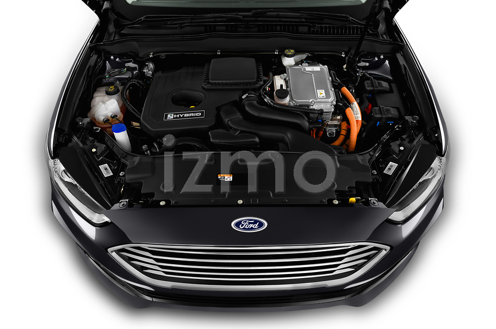 Car stock 2019 Ford Mondeo Clipper Hybrid 5 Door Wagon engine high angle detail view