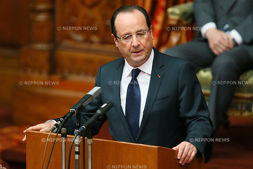 June 7, 2013, Tokyo, Japan - France's President Francois Hollande addresses  the members of both houses at the upper house in Tokyo, Japan, June 7, 2013. President Hollande is in Japan for a three-day state visit.  (Photo by Yusuke Nakanishi/Abaca Presse)