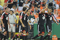 D.C. United defender Bobby Russell (3)  celebrates his score in the 50h minute of the game with team mates. D.C. United defeated Montreal Impact 3-0 at RFK Stadium, Saturday June 30, 2012.