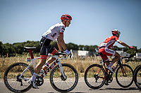Tom Skujins (LAT/Trek Segafredo) in the early breakaway group. <br /> <br /> Stage 5: Lorient > Quimper (203km)<br /> <br /> 105th Tour de France 2018<br /> ©kramon