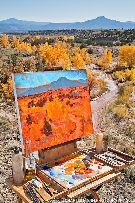 Painter Barry McCuen works on a plein air canvas of the fall colors in the October landscape at Ghost Ranch near the northern New Mexico village of Abiquiu.