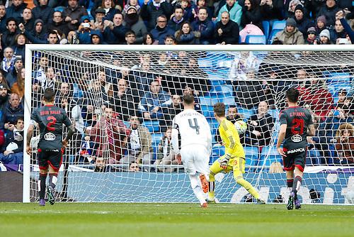 05.03.2016.  Madrid, Spain.  Cristiano Ronaldo dos Santos (7) Real Madrid celebrates after scoring his team´s goal. La Liga between Real Madrid versus Celta de Vigo at the Santiago Bernabeu stadium in Madrid, Spain