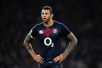Courtney Lawes of England looks on during a break in play. Old Mutual Wealth Series International match between England and Argentina on November 26, 2016 at Twickenham Stadium in London, England. Photo by: Patrick Khachfe / Onside Images