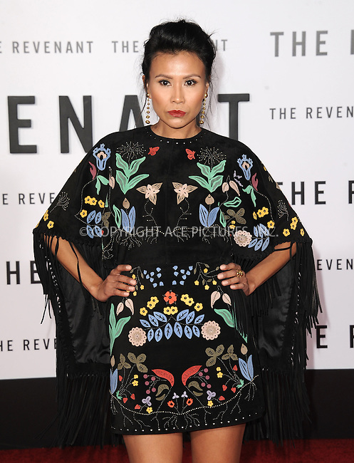 WWW.ACEPIXS.COM<br /> <br /> December 16 2015, LA<br /> <br /> Melaw Nakehk'o arriving at the premiere of 'The Revenant' at the TCL Chinese Theatre on December 16, 2015 in Hollywood, California.<br /> <br /> <br /> By Line: Peter West/ACE Pictures<br /> <br /> <br /> ACE Pictures, Inc.<br /> tel: 646 769 0430<br /> Email: info@acepixs.com<br /> www.acepixs.com