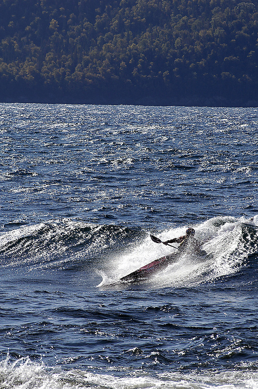 Kayak surfing in Michipicoten Bay, Lake Superior