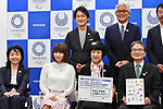 (Top L-R) <br /> Takeshi Natsuno, <br /> Tatsuo Kannami, <br /> (Low L-R) <br /> Aki Taguchi, <br /> Shoko Nakagawa, <br /> Yoshiko Ikoma, <br /> Ryohei Miyata, <br /> MAY 22, 2017 : The Tokyo Organising Committee of the Olympic and Paralympic Games announce the application requirements of the convention mascot in Tokyo, Japan. (Photo by AFLO)