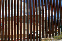 A Border Patroll unit from Arizona, USa, stays near  the wall or fence that separates the US from Los   Nogales, Sonora, in North Mexico.