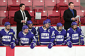 T.J. Manastersky (Curry - Head Coach), Lenny Mosca (Curry - Assistant Coach) - The Wentworth Institute of Technology Leopards defeated the visiting Curry College Colonels 1-0 on Saturday, November 23, 2013, at Walter Brown Arena in Boston, Massachusetts.