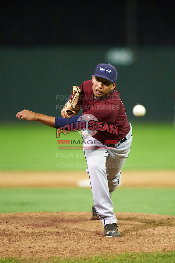 Mahoning Valley Scrappers relief pitcher Randy Valladares (48) during the second game of a doubleheader against the Batavia Muckdogs on August 17, 2016 at Dwyer Stadium in Batavia, New York.  Batavia defeated Mahoning Valley 5-3.  (Mike Janes/Four Seam Images)