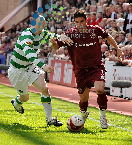 Willo Flood and Bruno Aguiar during the Hearts v Celtic SPL match at Tynecastle Stadium