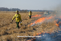 63863-02502 IL DNR biologists at controlled prairie burn, Prairie Ridge State Natural Area, Marion Co. IL