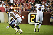Baltimore Ravens running back De'Lance Turner (47) blocks a punt by Washington Redskins punter Tress Way (5) late in the fourth quarter of the game at FedEx Field in Landover, Maryland on Thursday, August 29, 2018.  The Ravens won the game 20 - 7.<br /> Credit: Ron Sachs / CNP