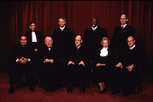 The chief justice of the United States, William Hubbs Rehnquist, underwent surgery for thyroid cancer at Bethesda Naval Hospital in Bethesda, Maryland on October 23, 2004. This group photo of the Justices of the United States Supreme Court taken at he Court on November 10, 1994.  (Left to right) Associate Justice Antonin Scalia; Associate Justice Ruth Bader Ginsburg; Associate Justice John Paul Stevens; Associate Justice David Hackett Souter; Chief Justice William H. Rehnquist; Associate Justice Clarence Thomas; Associate Justice Sandra Day O'Connor; Associate Justice Stephen  G. Breyer; Associate Justice Anthony M. Kennedy..