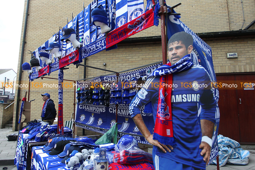 Diego Costa of Chelsea wears the Palace colours prior to KO during Chelsea vs Crystal Palace, Premier League Football at Stamford Bridge on 1st April 2017