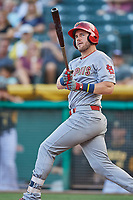Patrick Wisdom (5) of the Memphis Redbirds bats against the Salt Lake Bees at Smith's Ballpark on July 24, 2018 in Salt Lake City, Utah. Memphis defeated Salt Lake 14-4. (Stephen Smith/Four Seam Images)