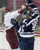 Steven Santini (BC - 6), Spencer McAvoy (StFX - 5) - The Boston College Eagles defeated the visiting St. Francis Xavier University X-Men 8-2 in an exhibition game on Sunday, October 6, 2013, at Kelley Rink in Conte Forum in Chestnut Hill, Massachusetts.