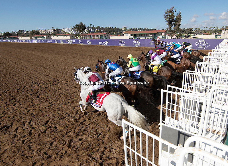 DEL MAR, CA - NOVEMBER 04: The field breaks from the gate in TwinSpires Breeders' Cup Sprint on Day 2 of the 2017 Breeders' Cup World Championships at Del Mar Racing Club on November 4, 2017 in Del Mar, California. (Photo by Michael McInally/Eclipse Sportswire/Breeders Cup/