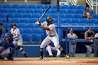 Bradenton Marauders third baseman Ke'Bryan Hayes (31) at bat during a game against the Dunedin Blue Jays on July 17, 2017 at Florida Auto Exchange Stadium in Dunedin, Florida.  Bradenton defeated Dunedin 7-5.  (Mike Janes/Four Seam Images)