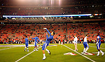 UK football players warm up before their game against the University of Georgia bulldogs on Saturday, Nov. 21, 2009 at Sanford Stadium in Athens, Ga.