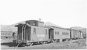 Caboose #0500 and outfit car #0202 in Durango, CO.<br /> D&amp;RGW  Durango, CO  Taken by Dunscomb, Guy L. - 5/4/1952