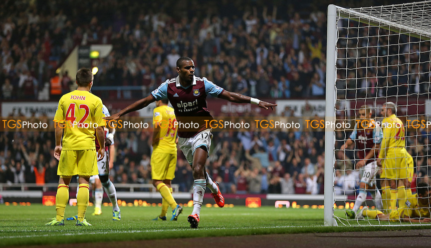 Ricardo Vaz Te scores the 3rd goal for West Ham and celebrates - West Ham United vs Cardiff City, Capital One Cup 3rd Round at Upton Park, West Ham - 24/09/13 - MANDATORY CREDIT: Rob Newell/TGSPHOTO - Self billing applies where appropriate - 0845 094 6026 - contact@tgsphoto.co.uk - NO UNPAID USE