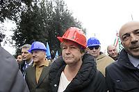 Roma, 3 Marzo 2012.Manifestazione dei lavoratori del settore edile e delle costruzioni contro la crisi economica e le morti sul lavoro..Cgil Cisl Uil. il segretario della CGIL Susanna Camusso